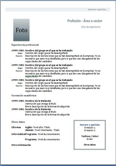 Plantillas De Curriculum Vitae Para Completar E Imprimir